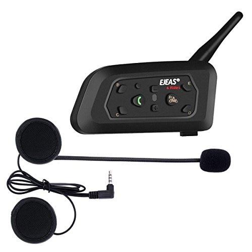 Ejeas V6 Pro Casque Moto bluetooth Interphone pour Motos Interphone Communication Gamme de 1200 m Moto Casque Interphone