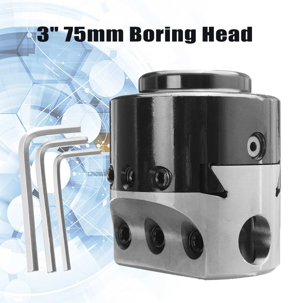 3'' 75mm Boring Head Lathe Milling Tool Holder +3 Wrench For 3/4'' Hole Boring Cut