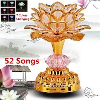 7 色蓮の花ランプ仏教祈りランプ 52 仏教曲仏音楽機 LED 変色 Temple Light