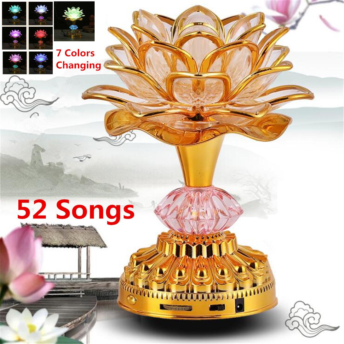 7Color for Lotus Flower Lamp Buddhist Prayer Lamps 52 Buddhist Songs Buddha Music Machine LED Color Changing Temple Light7Color for Lotus Flower Lamp Buddhist Prayer Lamps 52 Buddhist Songs Buddha Music Machine LED Color Changing Temple Light