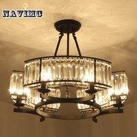 Винтаж Лофт Стиль Кристалл осветительное оборудование Черный Бронзовый Хрустальная люстра абажур лампы для Гостиная E14 светодио дный ламп