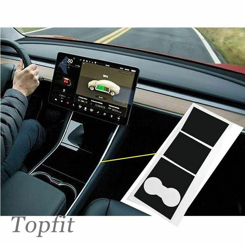 Matte Black Car Center Console Vinyl Wrap Cup Holder Stickers For Tesla Model 3