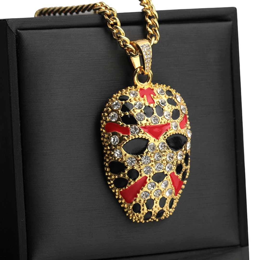 Shellhard Personalized Hip Hop Chain Necklace Gold Color Mask Pendants&Necklaces For Men Cool Punk Rock Jewelry