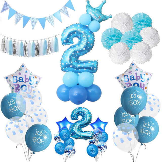 ZLJQ Boy 2 Year Old Birthday Party Decor Foil Confetti Balloons Banner Decorations Kids 2nd Blue