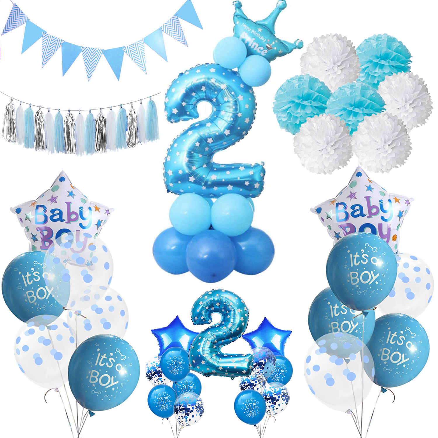 ZLJQ Boy 2 Year Old Birthday Party Decor Foil Confetti Balloons Banner Decorations Kids 2nd