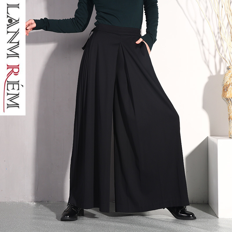 LANMREM 2019 Women High Waist Bandage Black Pleated Stitch Patchwork   Wide     Leg     Pants   Female New Spring Summer Trousers JO578