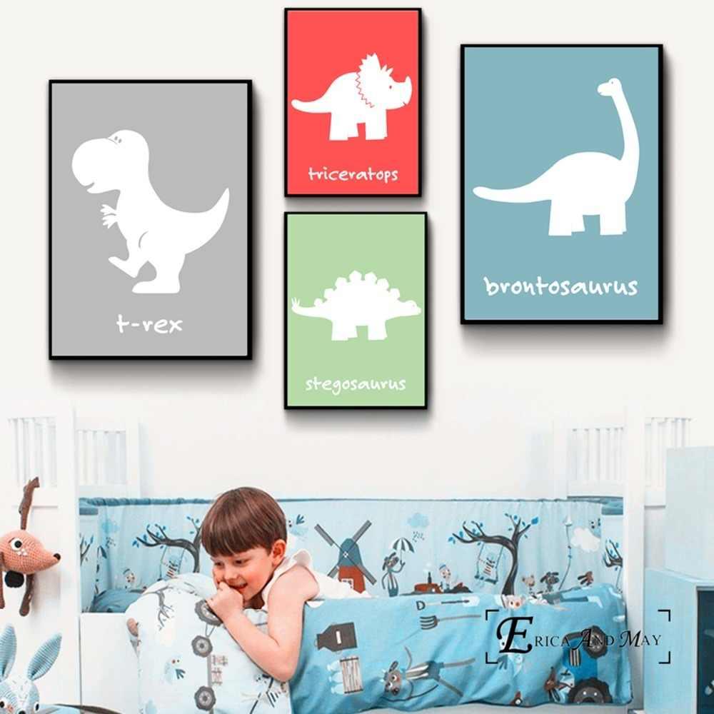 Набор с рисунком динозавра, Картина на холсте, плакаты на стену, изображения для детской комнаты, декоративная картина на стену, без рамки