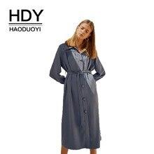 цена на HDY Haoduoyi New Women  Dress Simplicity Elegant  Pleated Belt Trim  Long Sleeve Shirt