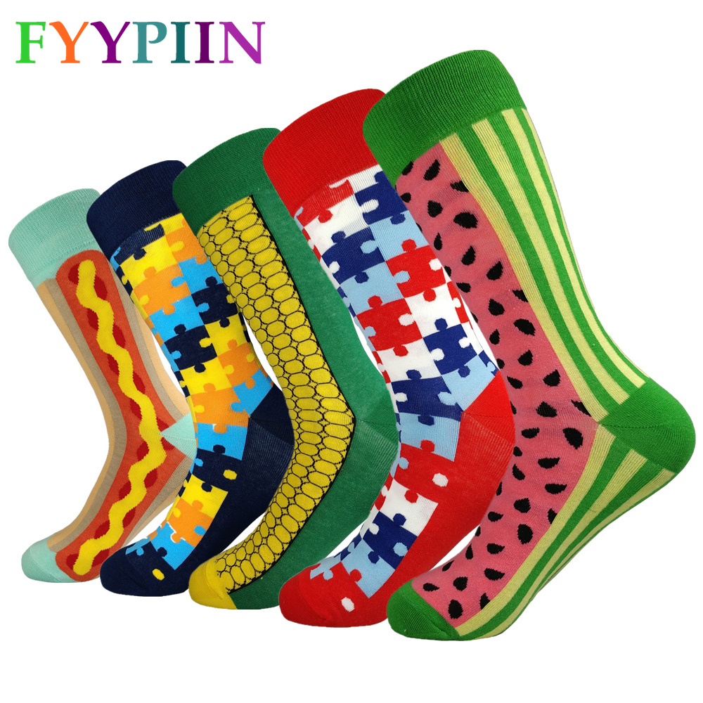 2020 Men Socks Sokken Socks Men's Casual High-quality Latest Lengthened Fashion Color Cotton Clothes Interesting (5 Piar/lor)