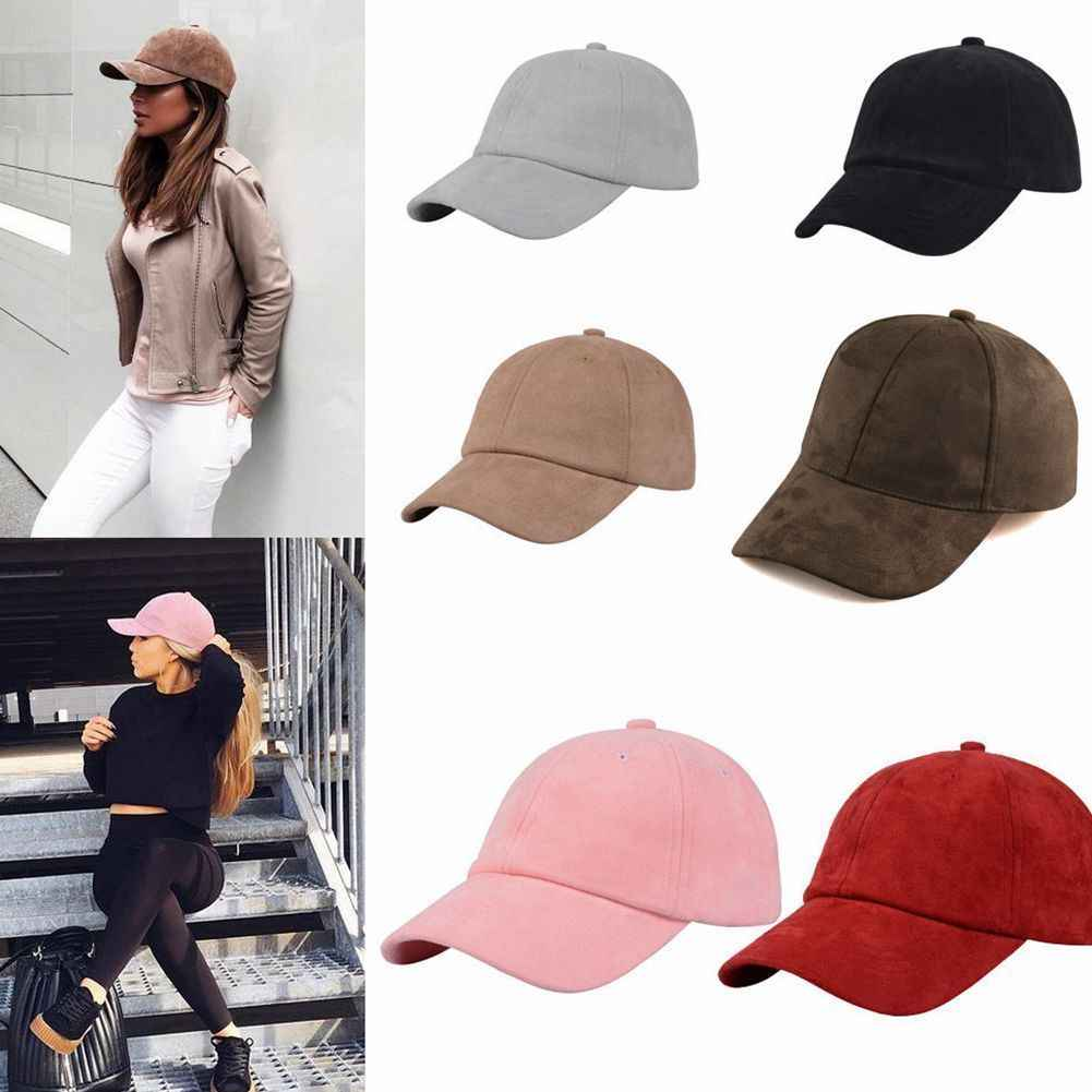 Fashion Wanita Gadis Chic Suede Bisbol Topi Solid Olahraga Visor Topi Adjustable