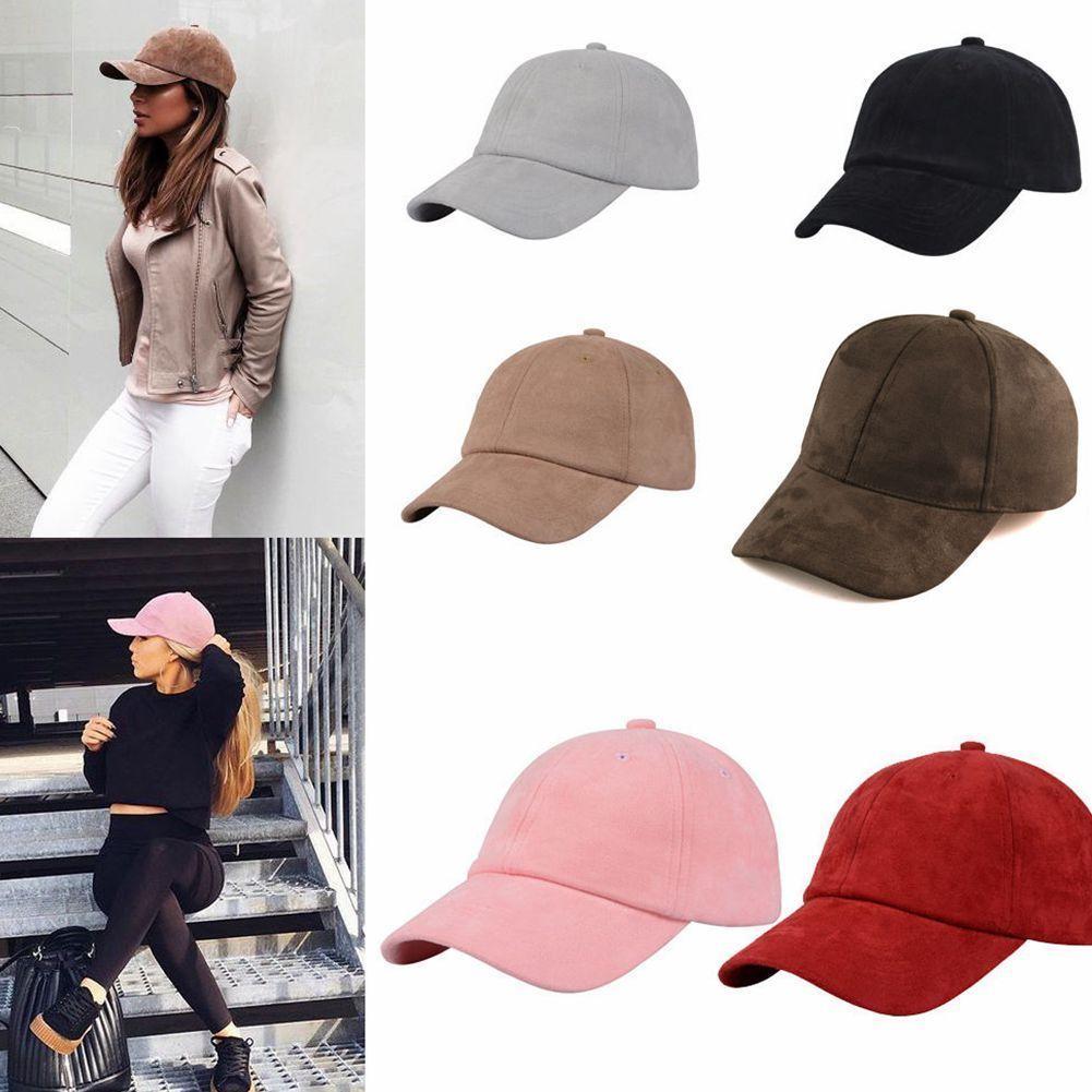 AnpassungsfäHig Mode Frauen Mädchen Chic Wildleder Baseball Cap Solide Sport Visier Hüte Einstellbar