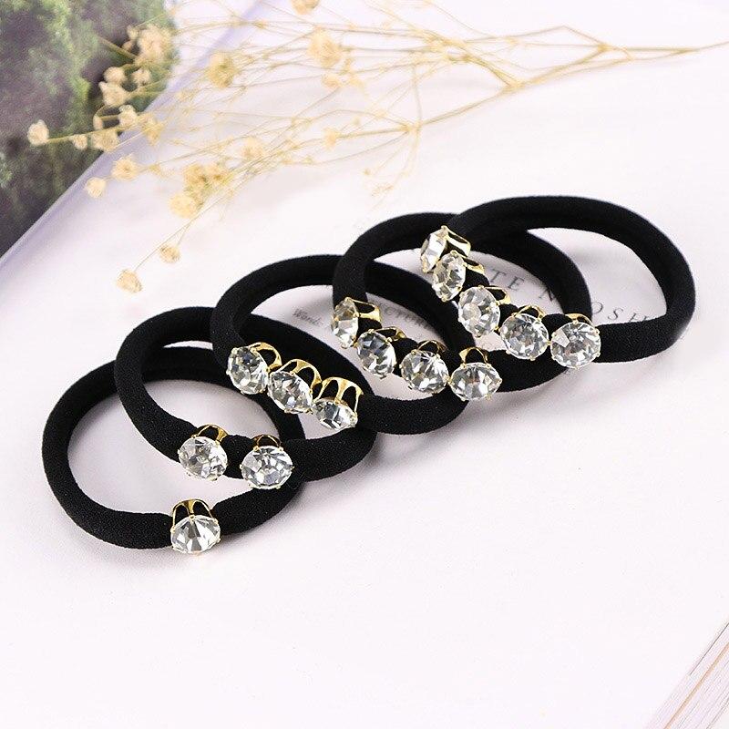 Black  Rope  Women Bands Hair Accessories Fashion Korean Elastic Hair Style Hair Ring  Rhinestone