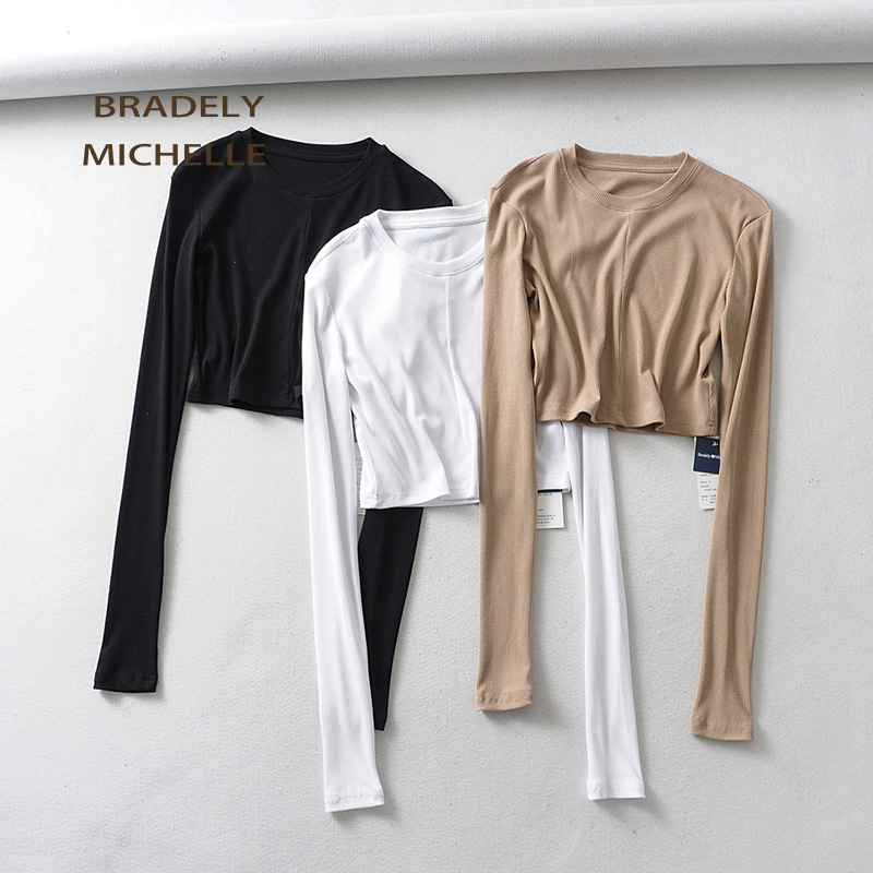 BRADELY MICHELLE 2019 Women Summer Soft Sexy Slim Knitted Cotton Crop Tops Super Long-sleeve Basic O-neck T-shirt Female