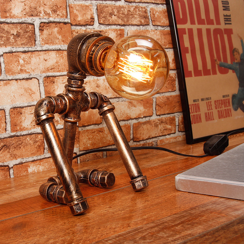Industrial table lamp for Vintage Loft Decor luminaria table lamp retro Study room Bedroom Kids Robot Iron Pipe nightstand lampIndustrial table lamp for Vintage Loft Decor luminaria table lamp retro Study room Bedroom Kids Robot Iron Pipe nightstand lamp