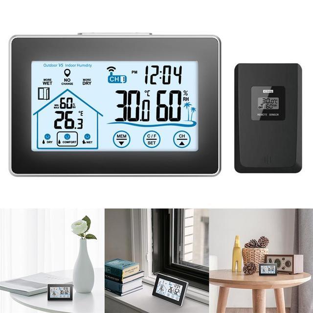 Baldr Draadloze Weerstation Digitale Touch Hygrometer Vochtigheid Meter Temperatuur Sensor Thermometer Indoor Outdoor Wandklok