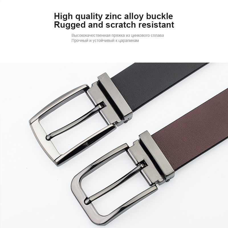MEDYLA Men's Leather Belt For Suit Senior Metal Pin Buckle Business Brown Classic Belt For Men 3.2cm Belt Male Gift Dropship