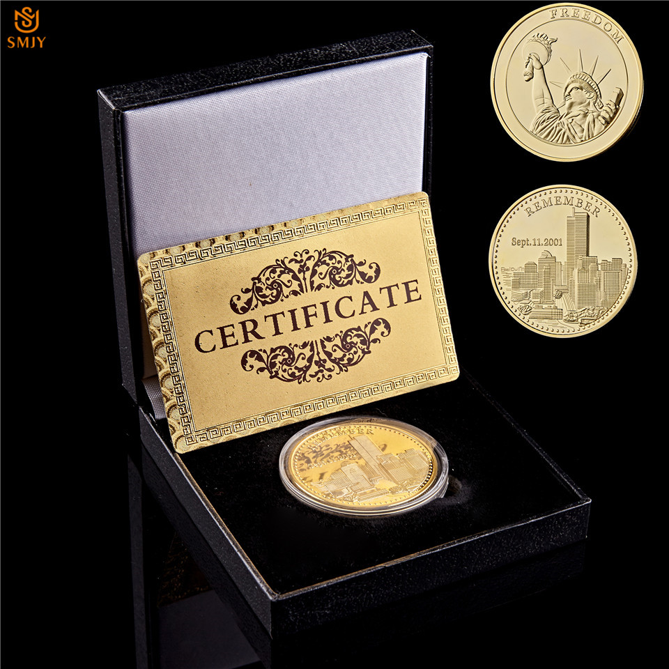 9.11 USA World Trade Center Building Terrorist Attack Freedom Goddess Gold Plated Challenge Coin Collection Value W/Coin Box image