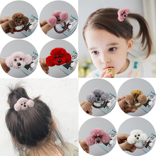 1PC Korean High Quality Hair Accessories Cute Baby Girls Clips 3D Popular Cartoon Plush Dog Shaped Creative Rope