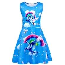 AmzBarley Rainbow Unicorn Girls Dresses Complete Unicorn Pattern Dress Up Fancy Birthday Party Dress 3-12 Years цена и фото