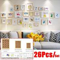 26Pcs/set Wooden Photo Frame Set Picture Wall Hang Decor Collage Large Small Multi Set Frames for Home Coffee Shop Decoration