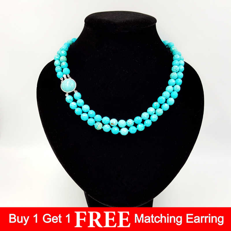 LiiJi Unique Natural Turquoises 8mm Faceted Beads double strand Turquoises Stone Clasp Fashion Necklace 18''