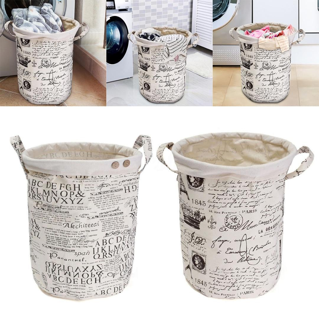 New Waterproof Foldable Canvas Laundry Basket Bin Storage Bag Washing Clothes HamperCoffee Iron Tower Black English Alphabet