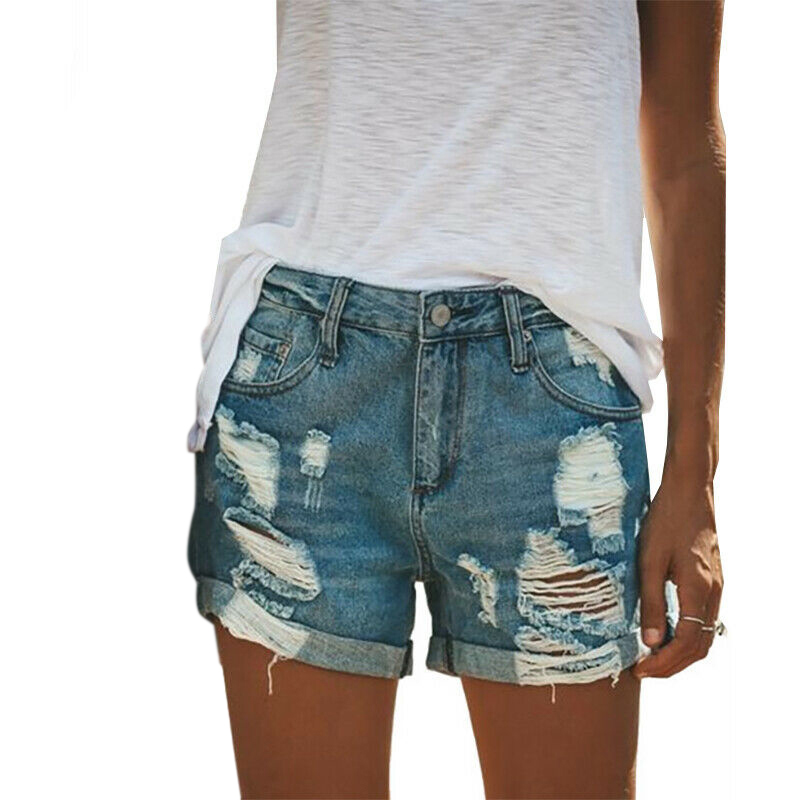 Women Plus Size   Short   2019 Woman Denim   Short   Trousers New Fashion Casual Ripped   Shorts   For Ladies Female Blue   Short   Jeans