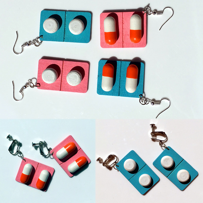 Women Girls Cute Ear Clip Lovely Capsule Graceful Pills