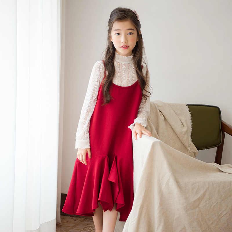 Винтажное благородное платье для детей 6-14 лет, подростковое вечерное платье для женщин, белая футболка с длинными рукавами + платье-жилет, 2 предмета, осенне-зимнее школьное платье