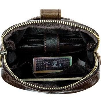 Vintage Men Messenger Bags Genuine Leather Mini Travel Bag 10