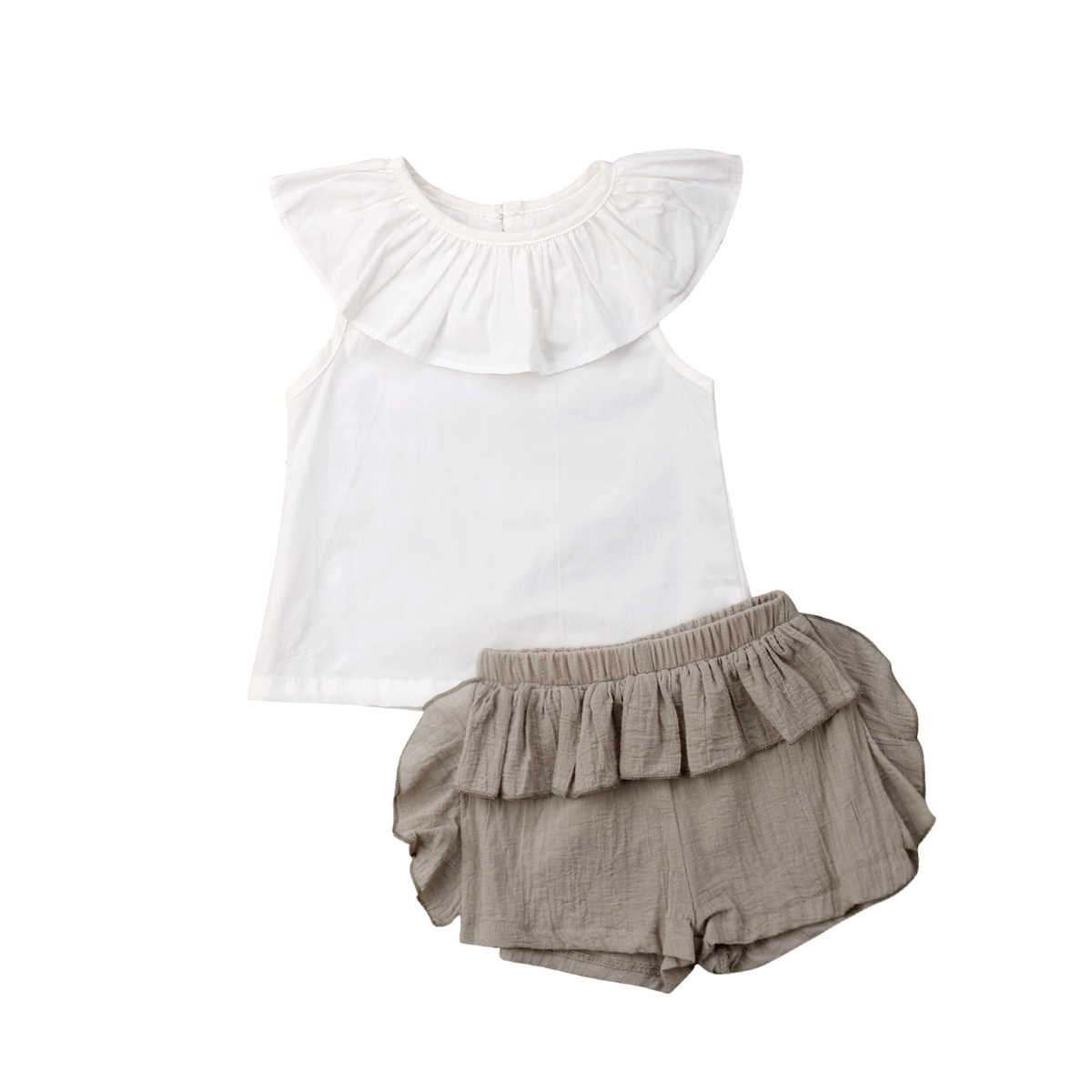 2019 Canis Summer 2Pcs Newborn Kid Baby Girl Clothes Collar White Ruffle  Tops Shorts Pants Outfit e523c119edc9