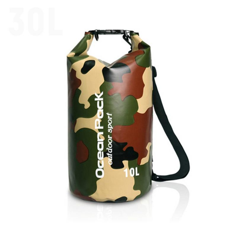2-30L Outdoor Camouflage Waterproof Dry Bag Durable Diving Floating Camping Hiking Swimming Backpack Travel Sports Rafting Sack