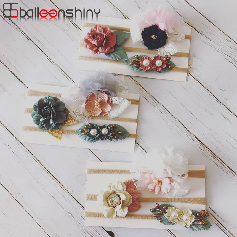 Balleenshiy 2019 New Headband Handmade Flower Children's Nylon Hair Band Elastic Baby Headdress Baby Girl Hair Accessories