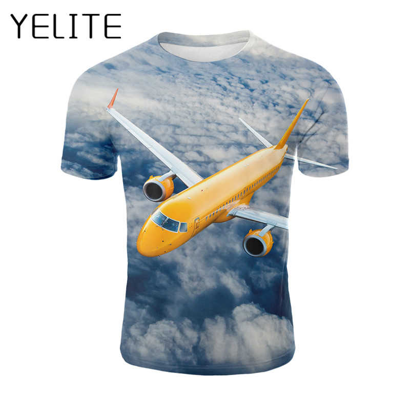 YELITE Summer Men 3d Harajuku T-shirt Sky Aircraft Pilot Space T Shirt Short Sleeve  Fashion Tops Plane Streetwear Tshirt