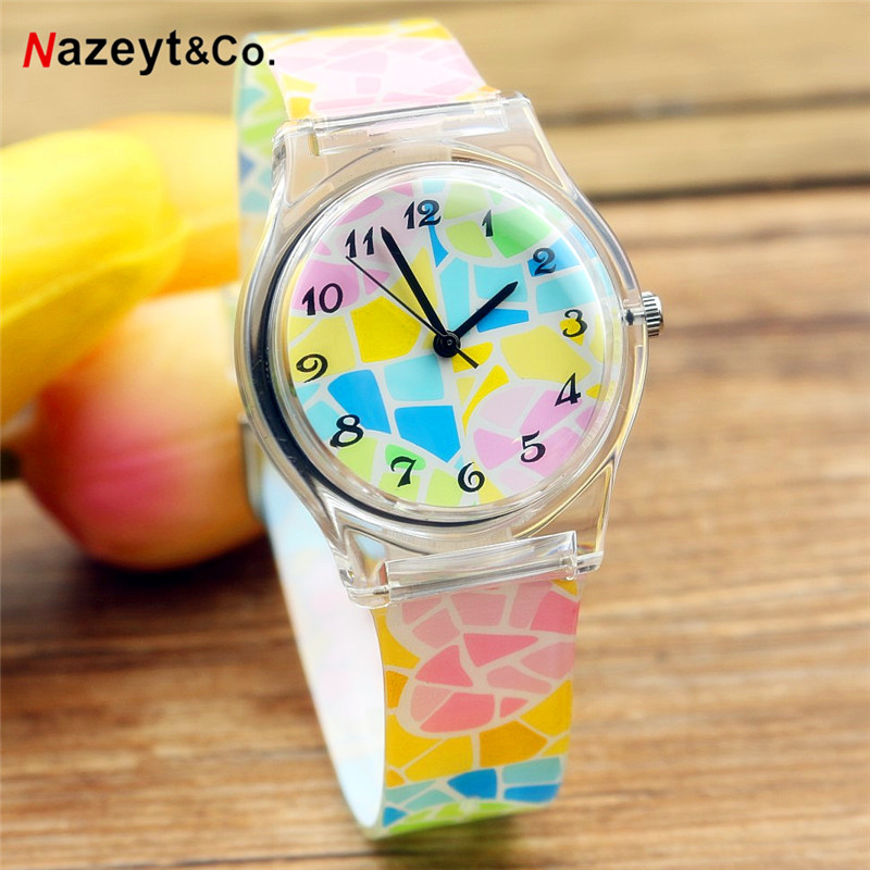 Fashion Simple Pattern Boys Girls Sports Watch Waterproof Silicone Students Watch Water Resistant Women Children Analog Watch