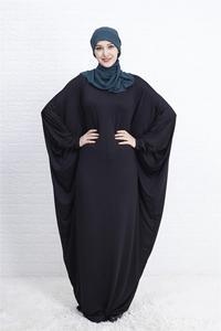 Image 3 - Abaya Muslim Women Long Dress Jilbab Kaftan Bat Sleeve Casual Loose Arab Maxi Robe Islam Solid Color Gown Prayer Clothes Garment