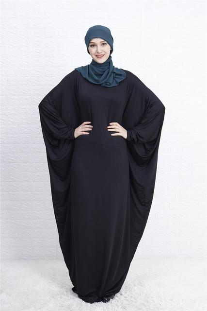 Abaya Muslim Women Long Dress Jilbab Kaftan Bat Sleeve Casual Loose Arab Maxi Robe Islam Solid Color Gown Prayer Clothes Garment 2