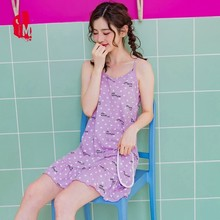 Summer Nightdress Women Cotton Sleeveless Nightwear Sleepwear Sexy Nightgown Plus Size Home Dress Sleep M-3XL