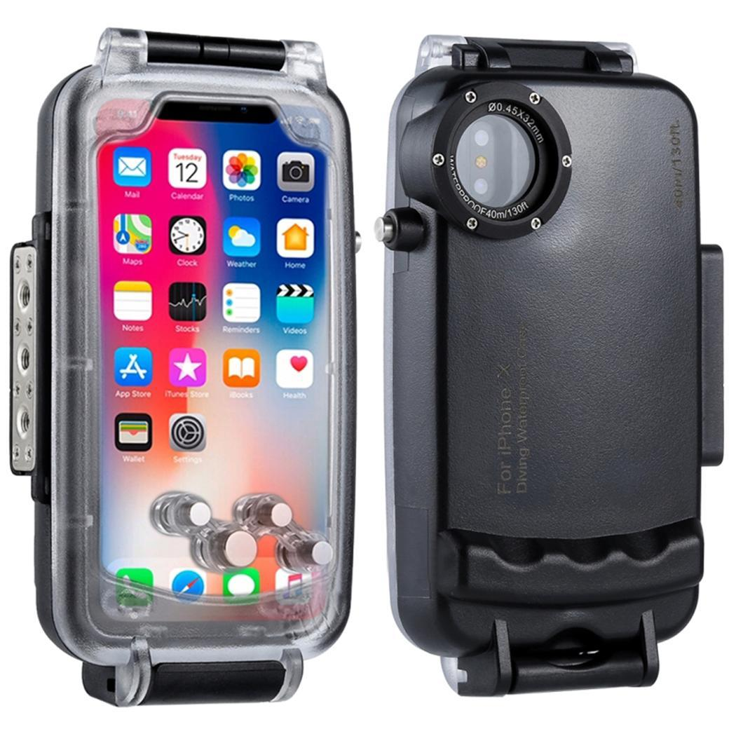 Unisex Fashion Waterproof Phone Case 360 Degree Protective 40m Protection Phone Print Cover White, Black