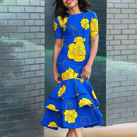 Women's Floral Dress Short Sleeve Formal Casual Evening Party slim summer elegant retro Fishtail Bodycon office lady dresses