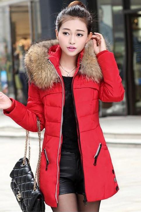 Women Winter   Parkas   Fur Collar Autumn Zipper Down Plus Size Coats Fashion Warm Female Hooded pocket Thick Overcoat Army green
