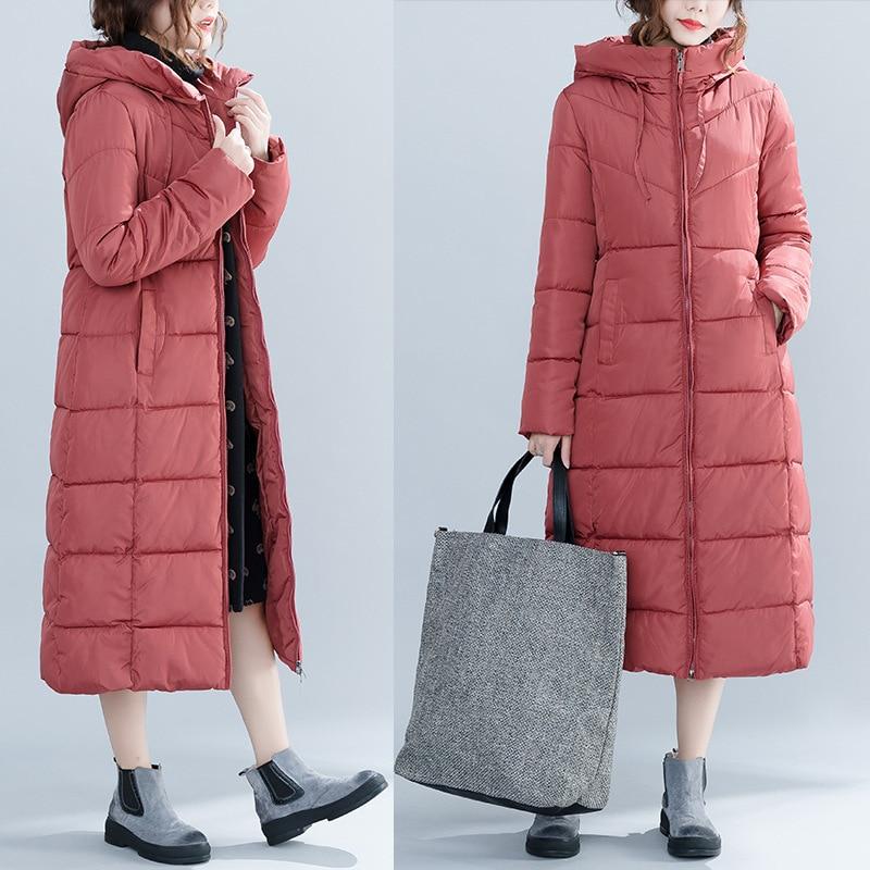 Lâche Femmes red Coton Mince À Nouvelle Manteau Capuchon 2018 Occasionnel Mode Xl Épais Black D'hiver Long Chaud Veste white Z5qITO