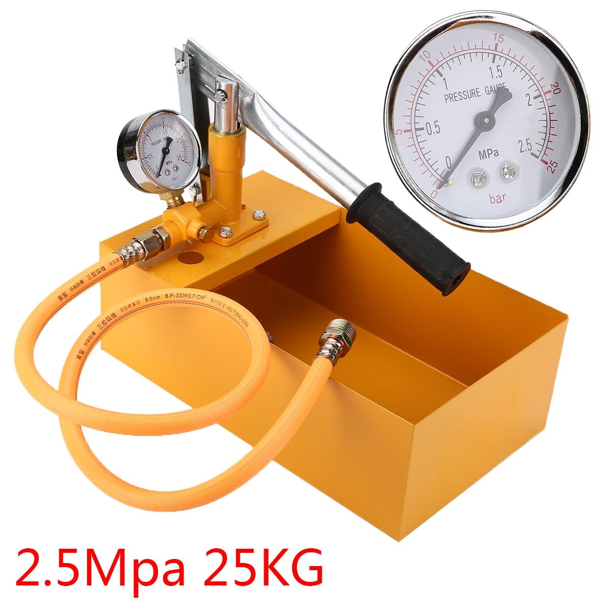 1 Set Pipeline Tester Pump Measuring Tool 25KG Manual Hydraulic Water Pressure Test Pump Machine with Screws Nuts Accessories