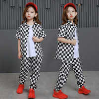 Kids Hip Hop Clothing Casual Plaid Tshirt Jogger Pants Girls Boys Jazz Dance Costumes Ballroom Dancing Clothes Wear Outfits Suit
