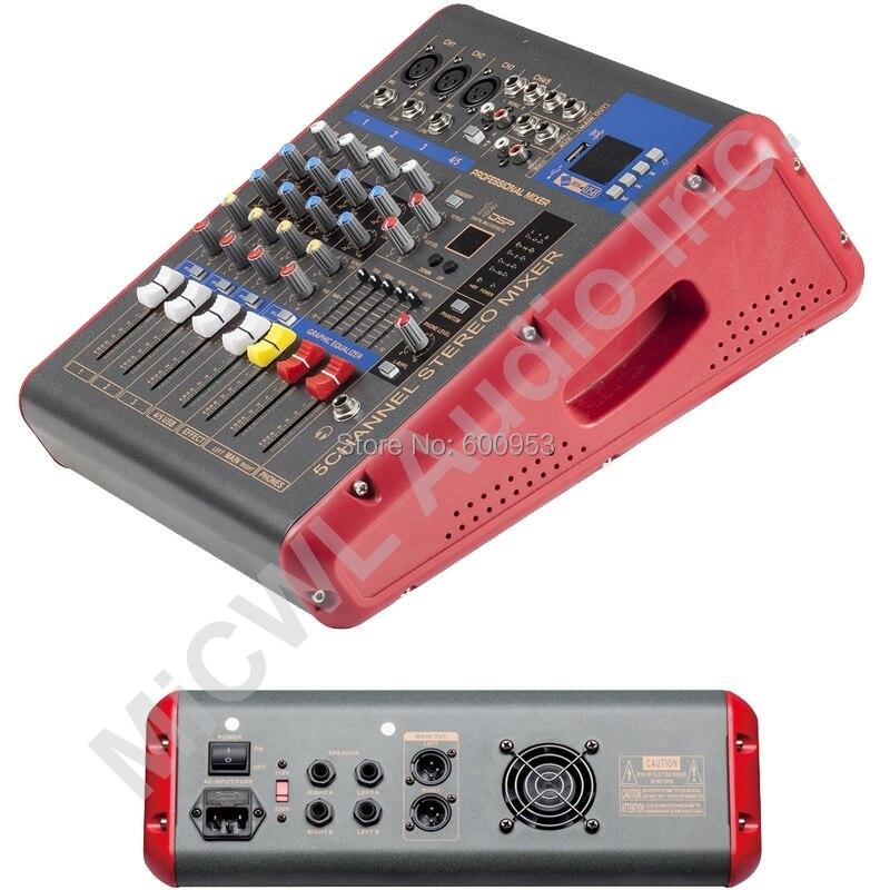 Rouge 1200 W watt 5 canaux karaoké scène mélangeur de puissance Console de mixage son voix processeur sans fil Bluetooth PMR501-AMP