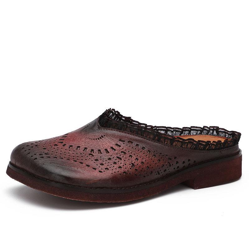 Mules D'été Broderie Chaussures Sandales Véritable Bas 2019 Vin forme Es Plate Rouge Wedge Babouches De Femmes En Cuir Talons 8qd7qrxwH