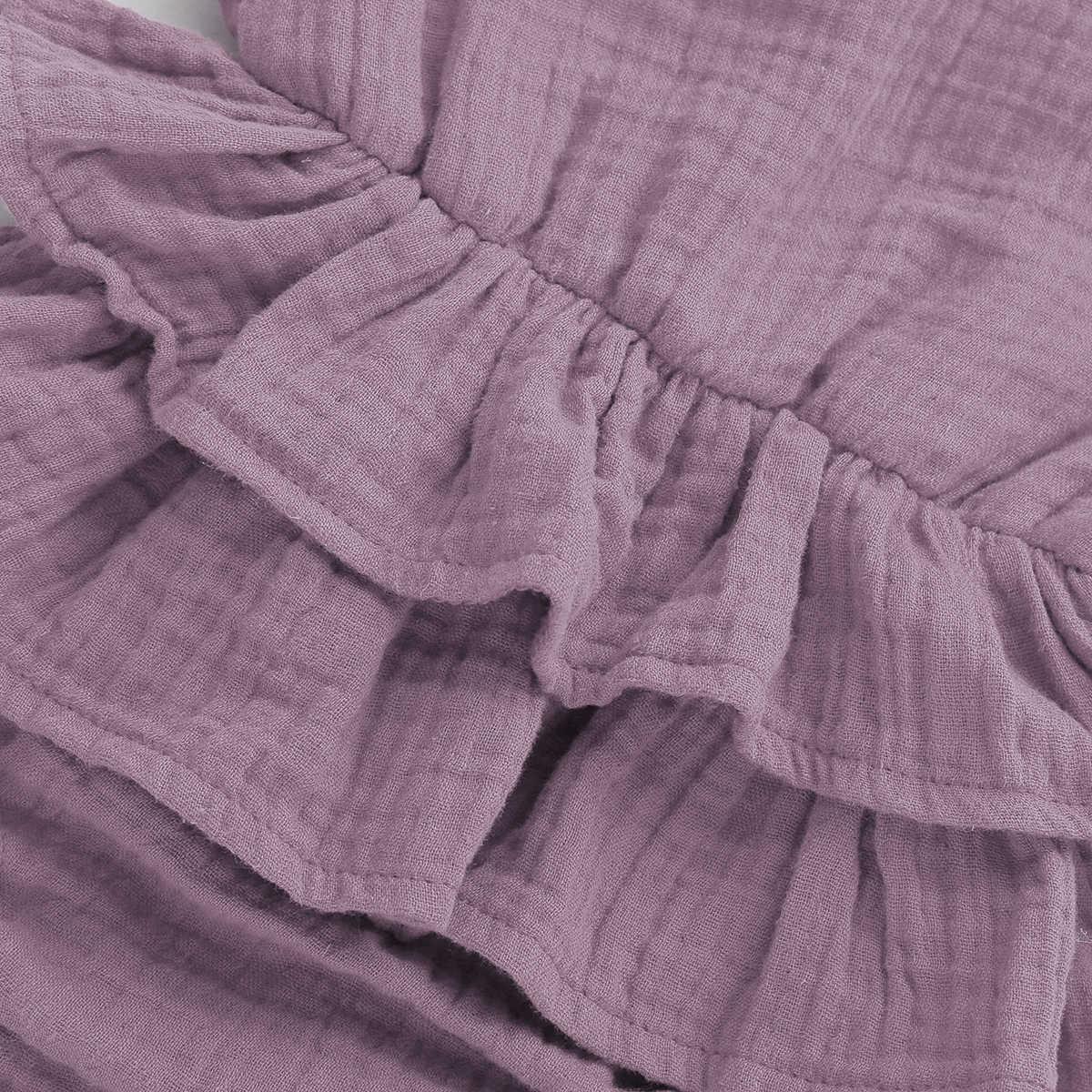 2019 Повседневная летняя одежда для маленьких девочек, однотонный комбинезон с оборками без рукавов, хлопковое платье для новорожденных, детская одежда