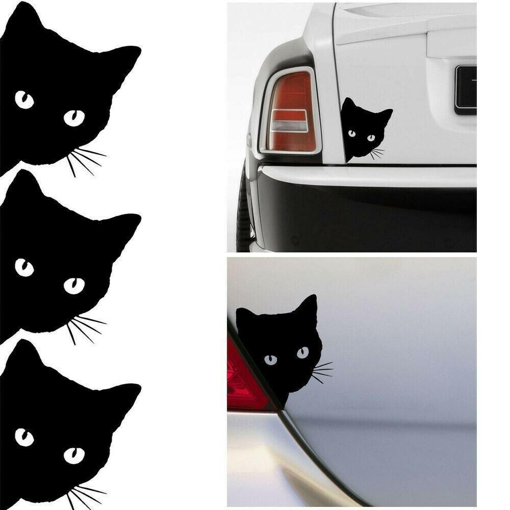 Cat Black Face Peering Funny Car Decal Window Truck Auto Bumper Laptop Sticker H
