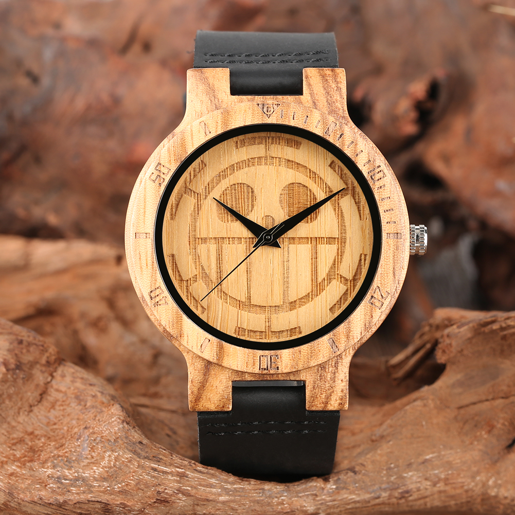 Wood Watch Black Leather Strap Lightweight Wooden Watches One Piece Smiling Face Pattern Dial Wood Watch Best Gift for Men WomenWood Watch Black Leather Strap Lightweight Wooden Watches One Piece Smiling Face Pattern Dial Wood Watch Best Gift for Men Women