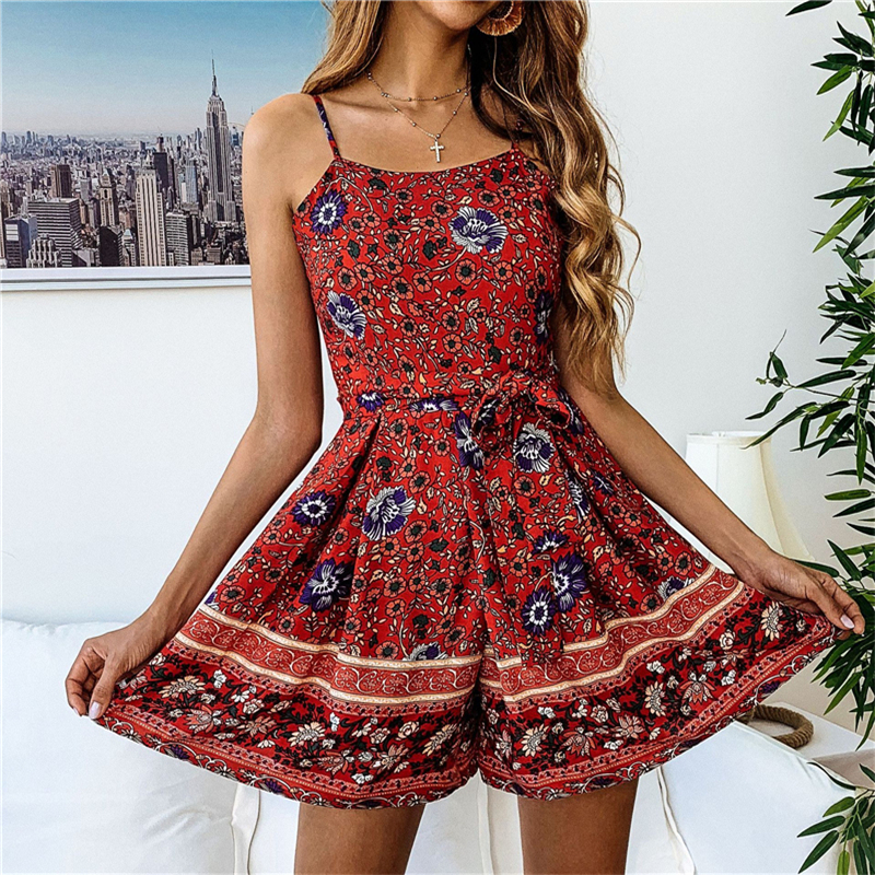 2019 New Women Boho Print Rompers print   Jumpsuit   Summer Short pleated Overalls   Jumpsuit   Female chest wrapped strapless Playsuit